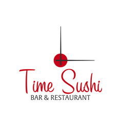 Time sushi logo template design with chopstick vector