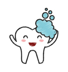 tooth with toothpaste character icon vector image