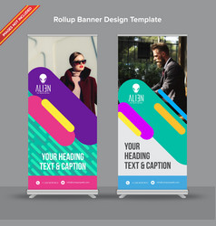 Trending rollup banner with multicolor parallel vector