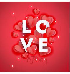 valentine s day greeting card template poster vector image