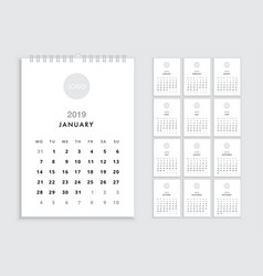 wall calendar 2019 template vector image