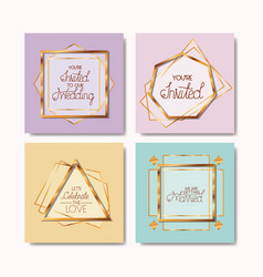 wedding invitation set golden frames vector image