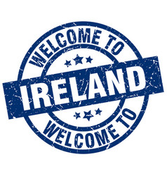Welcome to ireland blue stamp vector