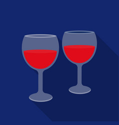 Wine glasses icon in flat style isolated on white vector
