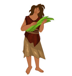 Woman from prehistorical culture cavemen people vector