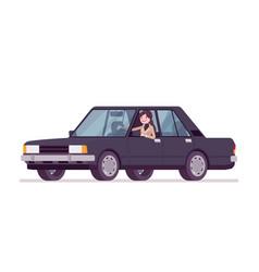 Woman in autumn wear driving a car vector