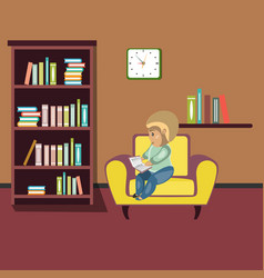Woman reading book on chair at home vector