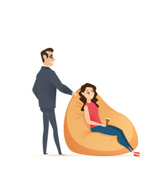 Woman seat in beanbag chair man stand behind vector