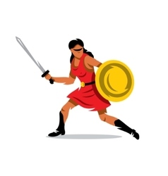 Woman warrior cartoon vector