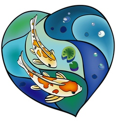 Carp pond in the shape of heart vector image