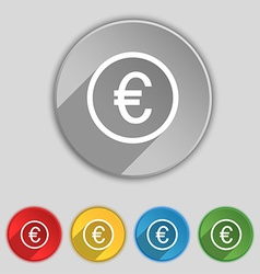 Euro icon sign Symbol on five flat buttons vector image