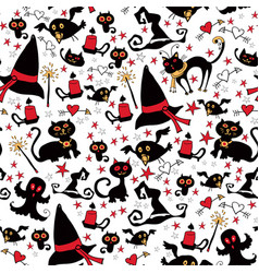 halloween seamless with the things witches vector image vector image