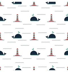 pattern lighthouse whale vector image