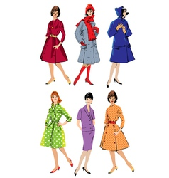 Set of elegant women - retro style fashion models vector image vector image