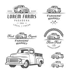 Set of retro farming labels and badges vector