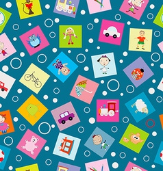 Wrapping paper for kids with cartoon toys vector image vector image