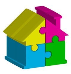 3d house from puzzles vector
