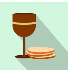 Chalice of wine and wafers flat icon vector image vector image