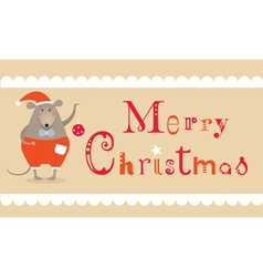 Christmas mouse card vector image vector image