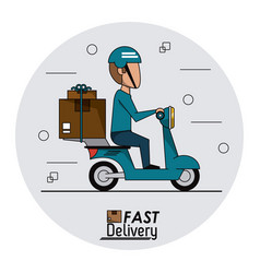 circular frame background with fast delivery man vector image