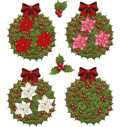 Clip art set of Christmas mistletoe decorative vector image