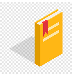 closed yellow book with a bookmark isometric icon vector image