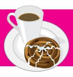 coffee and cinnamon bun vector image