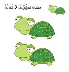 Find differences kids layout for game turtle vector
