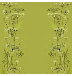 Green herbs background Hand drawn meadow vector image