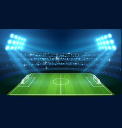 soccer stadium with empty football field and vector image