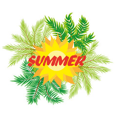 tropical background with palm tree vector image