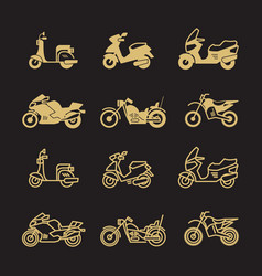 Vintage motorbike and motorcycle icons set vector