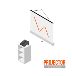isometric projector with screen vector image