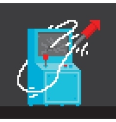 Pixel art style arcade game cabinet with firework vector image