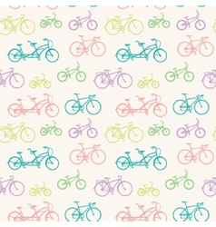Seamless pattern with hand drawn bicycles vector image vector image