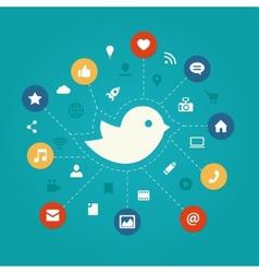 Set of modern flat design social media vector image vector image