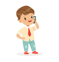 smiling little boy standing and talking on vector image vector image