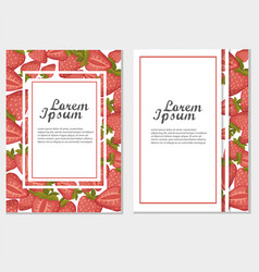 strawberry banners design for sweets and pastries vector image