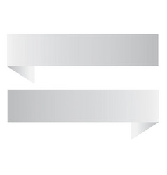 two white ribbon banner on white background two vector image vector image