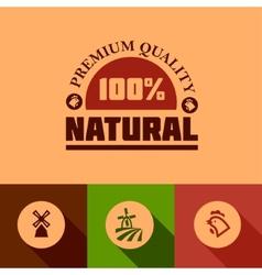 flat natural food icons vector image vector image