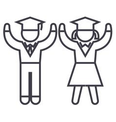 graduationstudentsteaching people line vector image