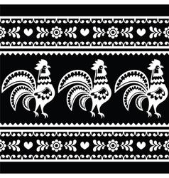 Seamless Polish monochrome folk art pattern with r vector image vector image