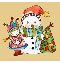 Watercolor snowman with girl and christmas tree vector image vector image