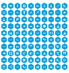 100 sea icons set blue vector