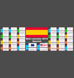 2019 spanish hispanic wall calendar two iso 8601 vector image