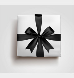 a black gift box bow 3d style vector image