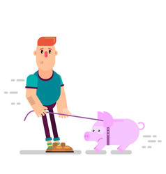 a person leads a piggy bank on a leash vector image
