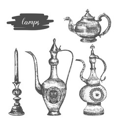 Arabic lamp set hand drawn sketch vector