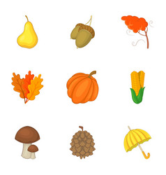 autumn harvest icons set cartoon style vector image