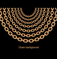 Background with chains golden metallic necklace vector